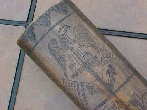 ORIGINAL 1851 SCRIMSHAW SWORDFISH BILL NEW BEDFORD MA EAGLE / SHIP / FLAGS ETC