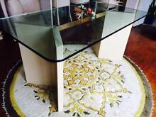 Glass dining table with cream base and six matching chairs Pagewood Botany Bay Area Preview