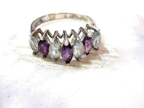CHANNEL SET STERLING SILVER RING AMETHYST TOPAZ BLUE PURPLE MARQUISE SIZE 8.25