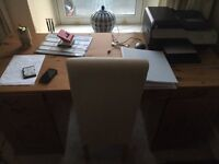 Desk Ikea and Chair for use as Office home desk study good solid desk