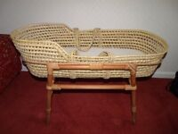 Moses Basket with Stand and Mattress.