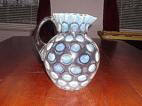 Antique Phoenix/Fenton Crimped Top Pitcher With White Opalescent Coin Spots