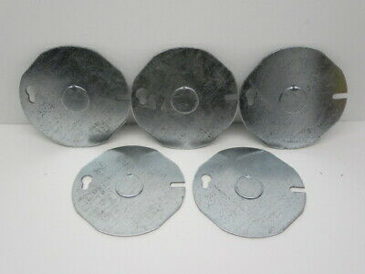 Lot Of 5 - Raco 703 3-12 Round Ceiling Box Cover With 12 Center Knockout