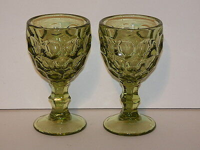 """IMPERIAL GLASS PROVINCIAL GREEN PAIR WINE GLASSES 4 3/8"""""""