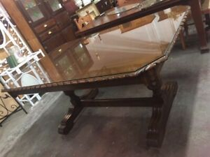 F19004 Vintage Deco Oak Ornate Carved Dining Table Glass Top