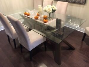 Large Glass-Top Dining Table