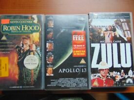 3 Vhs Films, Robin Hood Prince of Thieves, Appolo 13 and Zulu, Cert.PG