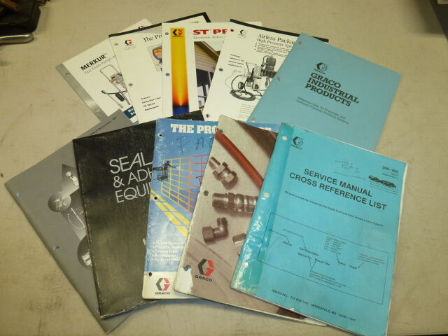 LOT of (10) Graco PAINTING TOOLS & SUPPLIES SERVICE MANUAL, CATALOGS & BROCHURES