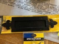 CAST IRON LETTERBOX/LETTERPLATE, COVERED CYLINDER PULL & ESCUTCHEON BRAND NEW
