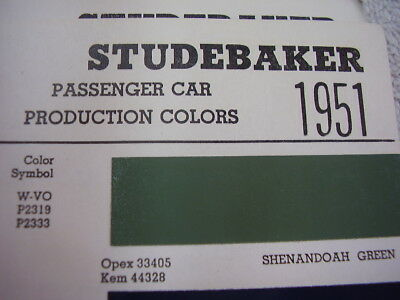 1951  STUDEBAKER PAINT COLOR CHIPS
