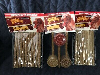 - 3 packages of rawhide 10pk beef basted 8pk natural and 3pk lollipops