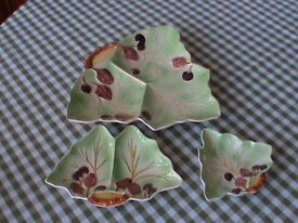 3 AVON WARE POTTERY - FRUIT LEAF SHAPED DISHES STRAWBERRIES CHERRIES