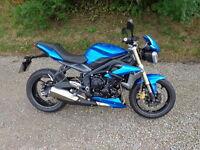 2013 Triumph Street Triple 675cc in blue 3318 miles finance available part exchange possible
