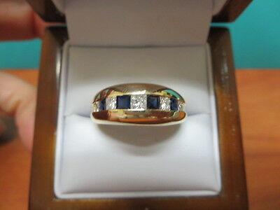 14k Yellow Gold Diamond and Sapphire Men's Engagement Ring