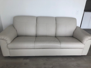 Light beige/White Leather Sofa for Sale