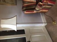 Brass lamp with cream shade