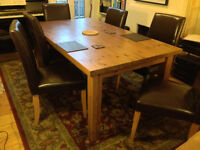 Large Dining Table & 6 leather dining chairs