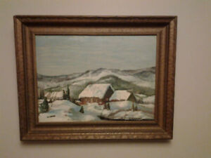 "NEW LOWER PRICE ""VINTAGE  QUEBEC ART- COLLECTIBLE OIL PAINTING"""