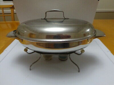 Vintage Stainless Steel Chafing Dish With Lid 6-cup Capacity Euc
