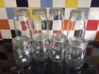 Kilner type glass storage jars