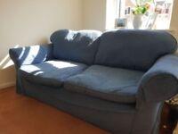 Large blue sofa