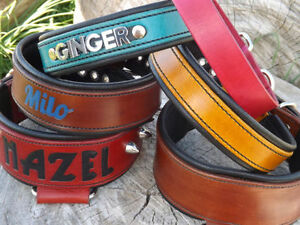 Handcrafted custom leather pet collars