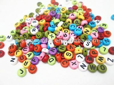 400 Mix Colour Alphabet Letter Beads 6.5mm Acrylic Jewellery Making Beads