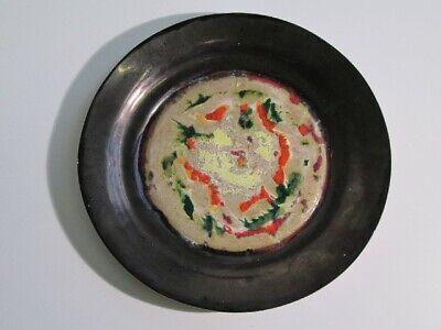 Large Dish IN Ceramic Enamel Figure Modernist Painted Period Xx Century