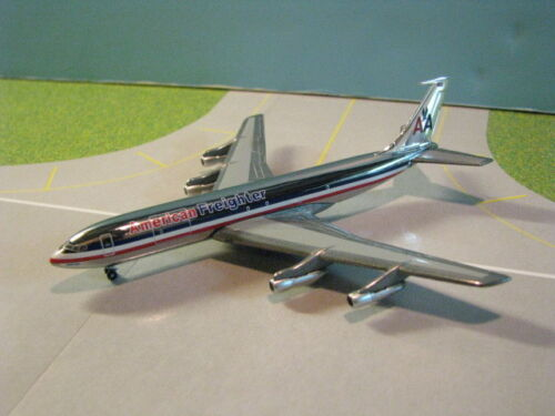 """AMERICAN FREIGHTER 707-320 """"CHROME FUSELAGE"""" 1:400 SCALE DIECAST METAL MODEL"""
