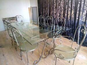 French Provincial Style Large Dining Table and Chairs
