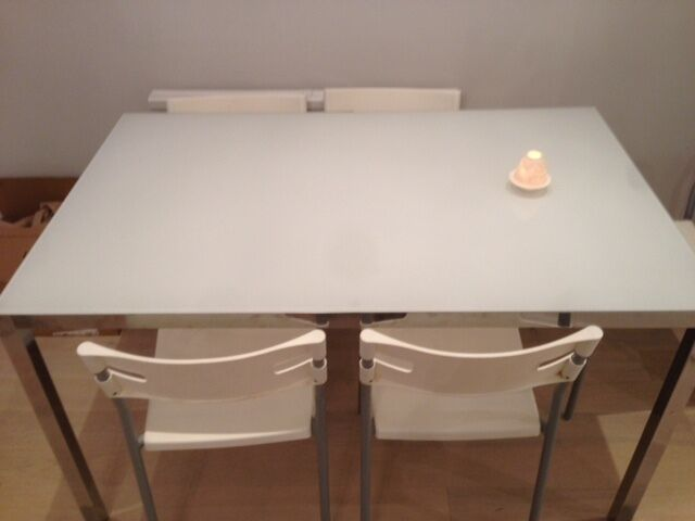 Dining room table 135cm long ikea torsby chrome plated glass white table in kensington - Glass dining table ikea ...