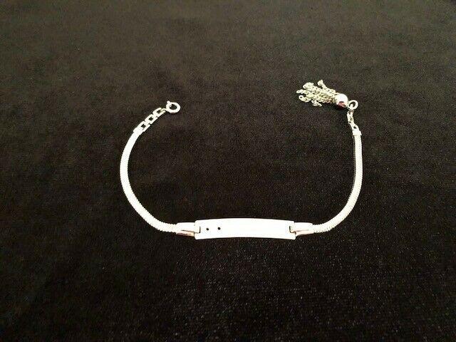 "RARE ELCO Sterling Silver ID Herringbone Chain Tassel Bracelet 7"""