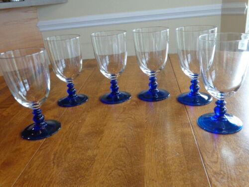CRYSTAL D'ARQUES COURTYARD COBALT BLUE STEM  ICED TEA GLASSES LOT OF 6
