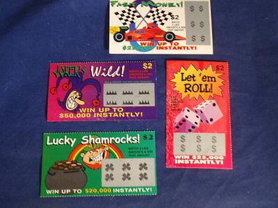 4 Phony Fake All Winning Scratch Off  Lottery Tickets  Joke  Prank  Gag