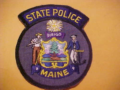 MAINE STATE POLICE PATCH SHOULDER SIZE USED VERY EARLY STYLE
