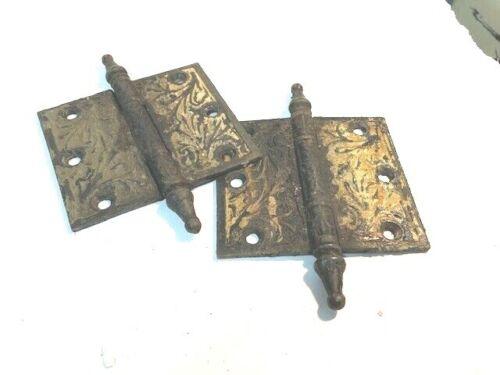 "Pair Ornate Iron Steeple Pin Door / Cabinet Hinges 3-1/2""  x 4"""
