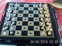 Gold &Chrome Plated Travel Chess Set / My First Chess Book