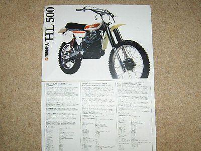 Yamaha HL500  Sales brochure XT500 TT500