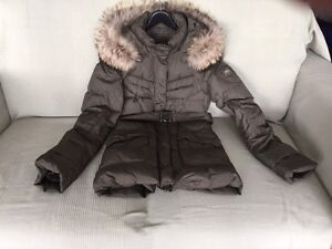 WOMENS DOWN PARKA PUFFY JACKET REAL FUR HOODED OLIVE GREEN