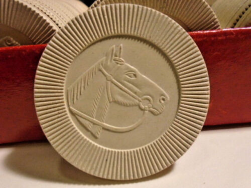 Antique POKER CHIPS Horse Head Embossed Lot of 77 Pattberg Novelty Co. NY