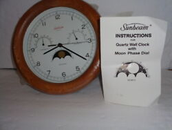 VINTAGE SUNBEAM QUARTZ WALL CLOCK WITH MOON PHASE DIAL NEVER USED 1991