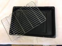 New Large Vitreous Enamel Oven Grill Pan with Rack but no handle