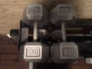 Steel Hex Dumbbells - 60lbs and 70lbs