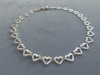 "NEW ITALIAN STERLING SILVER- 9.75""-ANKLE BRACELET- FACETED HEART LINK-ITALY 925"