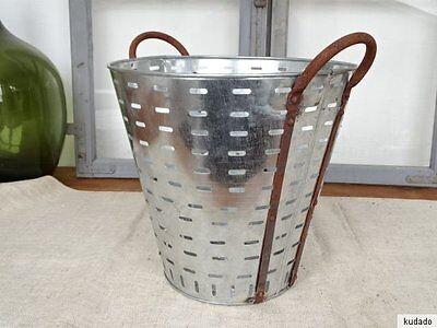 L1735 Olivenkorb ~ Eisenkorb OLIVEN ~ OLIVENEIMER verzinkt ~ olive bucket