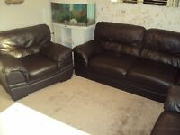 brown leather 3 piece suite sofa + 2 chairs bargain