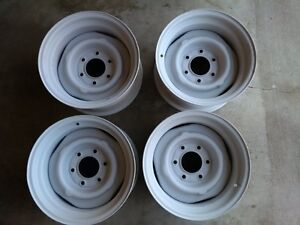 Chevrolet 15 x 8 steel truck wheels. 4 nub, 6 lug.