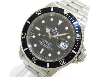 Auth ROLEX Submariner Date 16610 Black Silver T275159 Men