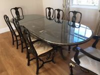 Dining table and chairs - black laquer, ornate, plus 8 padded chairs. FREE to good home