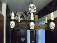large GOTHIC chandelier with mounted skulls
